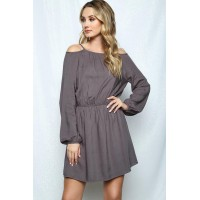 Women ADORE YOU JUNIORS COLD-SHOULDER MINI DRESS CHARCOAL 175289 BPNUSUF