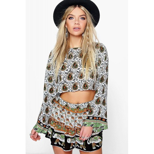 BOOHOO Border Print Short Co-Ord Set Favorite welcome multi DZZ89263