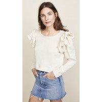 LOVESHACKFANCY Corinne Crop Sweatshirt Hermoso de alta calidad elegante Antique Cream Ruffled shoulders Sweatshirt style VMSMUUC