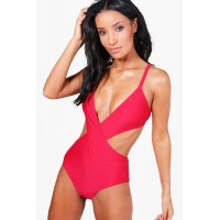 Plunge Wrap Swimsuit Comfortable elegant and beautiful red SZZ90577