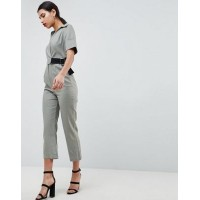 Women ASOS DESIGN wrap jumpsuit with grosgrain belt in linen More stylish and elegant Done in one 1243055 EULWHFH