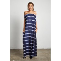 Women ON MY WAY JUNIORS STRIPE TIE-DYE JUMPSUIT NAVY 183122 QUJZHBX