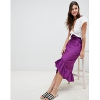 Women ASOS DESIGN cotton midi skirt with tie belt and ruffle hem More stylish and elegant High rise 1219222 ZTRKALH