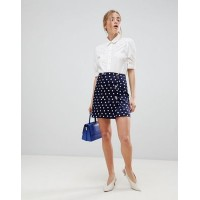 Women ASOS DESIGN double breasted mini skirt in spot More stylish and elegant Polkadot print 1232093 LSWDXNX