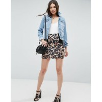 Women ASOS Mini Skirt with Side Rib Detail in Animal Print More stylish and elegant Stretch jersey 1124088 XCAGCOZ