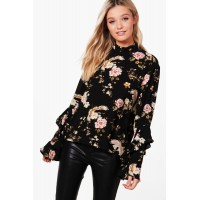 Oriental Print Flare Sleeve Blouse Comfortable elegant and beautiful black DZZ42304