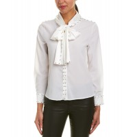 Women Beulah Studded Blouse Approximately 24in from shoulder to hem White 510157401 FEKIJTX
