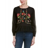 Women Haute Rogue Embroidered Gauze Top Approximately 22in from shoulder to hem Black 509901301 JMEHHJI