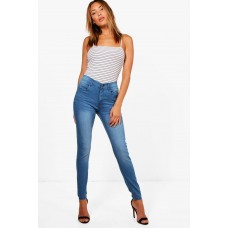 BOOHOO High Rise 5 Pocket Skinny Jeans Favorite welcome mid blue DZZ45052