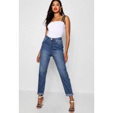 BOOHOO High Rise Mid Wash Boyfriend Jeans Favorite welcome mid blue DZZ24463