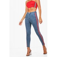 BOOHOO High Rise Sports Stripe Skinny Jeans Favorite welcome light blue DZZ34276