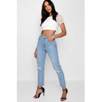 BOOHOO High Waist Mom Jeans Favorite welcome blue DZZ28689
