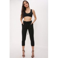 Women Black high waist cropped trousers High waisted cropped trousers Waist tie detail S18W-4100025146-BCK-L JIPYGFS