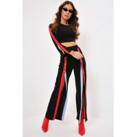 Women Black/red popper wide leg trousers Maxi length Popper sides A17W-4100026491-BED-6 SKGBODN