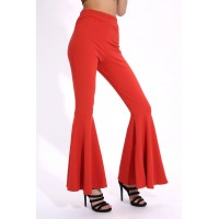 Women Rust flared trousers Flared trouser Midi waist A17W-4100013383-RST-8 FLCTMEB